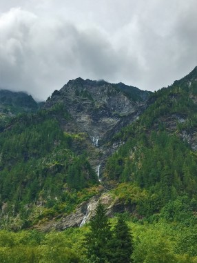 Glacial melt coming down from the mountaintops forms waterfalls that cascade all the way down to the Quinault River in Enchanted Valley.