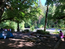Lindsey enjoying the serenity at our campsite at O'Neil Creek.