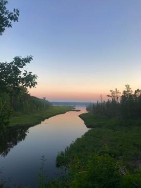 big bay lagoon at sunset